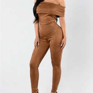 Fashion Nova Can't Be Bothered Jumpsuit-Coco Suede